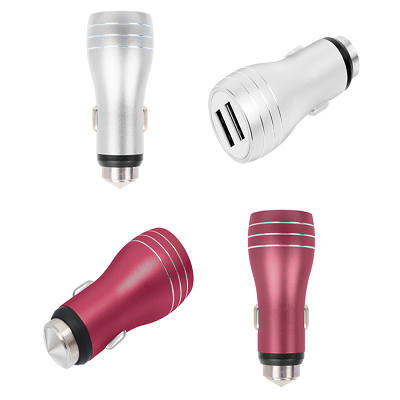 QC2.0 Dual USB Car Charger with Safety Hammer